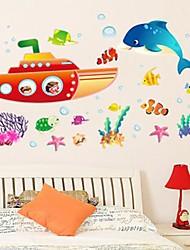 Подводная лодка И Кит Дизайн Пластиковые настенные Stickerss (1шт)