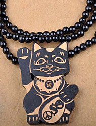 moda hip hop fortuna gato grânulos de madeira multicolor de madeira colar de pingente (1 pc) (mais cores)