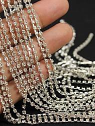 3.5meters серебряный тон четкая линия кристалл горного хрусталя цепь 3d сплава украшение искусства ногтя