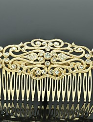 Palace Flower Hair Comb Headpieces for Women Party with Gold Tone and Clear Rhinestone
