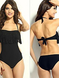 Women's Solid Black One Piece Swimwear,Halter Tassel