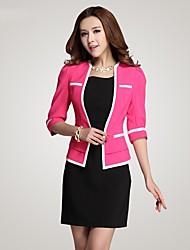 Qiaojiaren Round Collar Half Length Sleeve OL Style Fitted Blazer