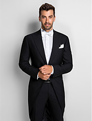 Schwarz 100% Wolle Slim Fit Two-Piece Tuxedo