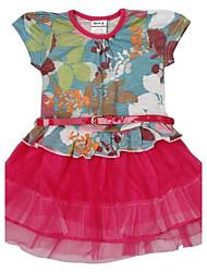 vestido de encaje de cuello redondo vestido de flores de verano para niños imprimir con muchachas de la correa vestidos estampados azar