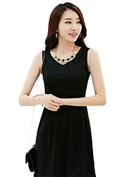 YGR Frauen Ärmelloses Grund Solid Color Black Dress