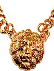 Meet You Lion Head Shaped Golden Necklace
