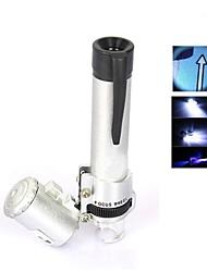draagbare 3-led verlichte 60x microscoop met schaalverdeling (3 * LR1130)