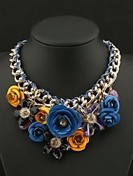 Senlan Women's Elegant Gold Print Chain Flower Short Necklace