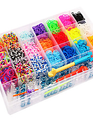 Rainbow Colorful Loom Big Size 28 Cells Multicolor Rubber Band (4200 Pcs) And Connector