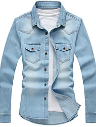 Men's Pure Long Sleeve Top , Denim Casual