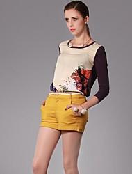 Damen Druck Einfach Lässig/Alltäglich T-shirt,Rundhalsausschnitt Alle Saisons Langarm Gelb / Lila Baumwolle Dünn