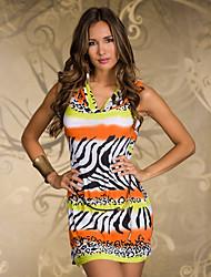 Berry Western Sleevless Geometric Print Slim Dress inc. Belt