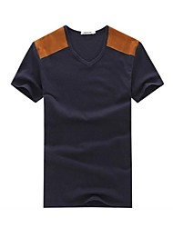 Col rond manches courtes Casual Patchwork Homme Tops Fashion T-shirts