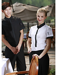 Restaurant Uniforms Short Sleeve Waiter Blouses with Clasp