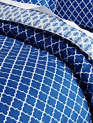 3 Piece - Modern Contemporary Style Blue And White Overlapping Trellis Comforter