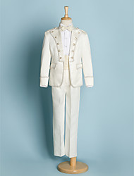 Ivory Polyester Ring Bearer Suit - 5 Pieces Includes  Jacket / Shirt / Pants / Waist cummerbund / Bow Tie