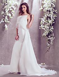 Lan Ting Trumpet/Mermaid Plus Sizes Wedding Dress - Ivory Sweep/Brush Train Jewel Satin/Organza