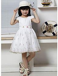 Girl's Jacquard Dress,Cotton Blend / Lace Summer Pink / White