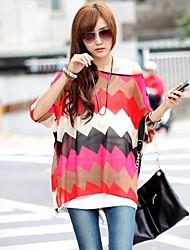 Dun - Casual/Print/Grote maten - Overhemd (Chiffon/Katoenmixen)met Korte mouw