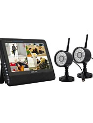 "NEW Wireless 4CH Quad DVR 2 Cameras with 7"" TFT-LCD Monitor Home security system"