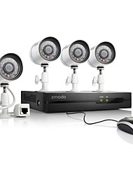 Zmodo 4CH 720P HD Network sPoE NVR Security System & 4 IP Cameras
