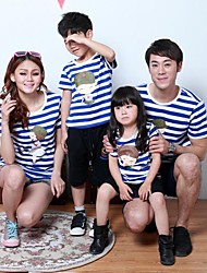 Family's Round Collar Carton Person Print And Stripe Cotton Short Sleeve T-shirt(Picture Random)