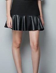 Женская соблазн Черный PU кожаная сумка бедра юбка мини юбки
