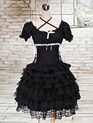 Camiseta de manga corta T-shirt de algodón Negro multi-capas de la falda Gothic Lolita Trajes