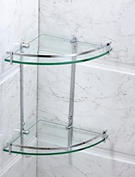 Bathroom Shelf Chrome Wall Mounted 25*25*40cm(9.8*9.8*15.8inch) Stainless Steel / Glass Contemporary