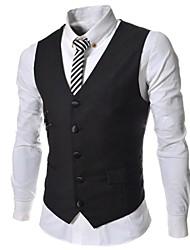 Men's Solid Color Slim Single Casual Breasted Pure Vest A