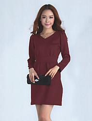 Frauen Round Neck Solid Color Langarm Kleid
