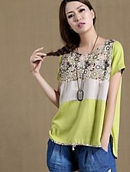 Women's Tops & Blouses , Cotton/Linen Casual Jiuyi