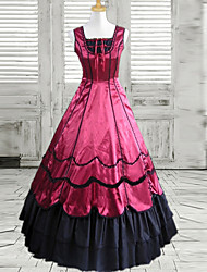 One-Piece/Dress Classic/Traditional Lolita Lolita Cosplay Lolita Dress Black / Wine Red Patchwork Sleeveless Long Length Dress For Women