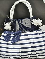HEC Women's Stripe Bowknot Canvas Tote 30*6*27CM