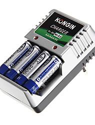 carregador de bateria para kongin aa/aaa/9v/ni-mh/ni-cd com Plug UE (incluído 4xAA)