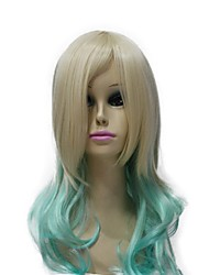 Capless 100% Imported Heat-resistant Fiber Flaxen And Green Multi-Color Long Wavy Lolita Wig