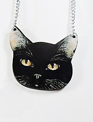 Black Cat Pattern Wood Necklace