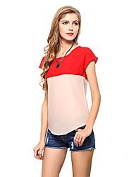Frauen Round Neck Chiffon Kurzarm T-Shirt