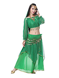Belly Dance Outfits Women's Performance Silk Top Length:20cm Dress Length:85cm