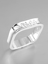 Lucky Doll Women's Silver Square Classic Ring