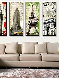 European Building Framed Canvas Print Set of  4