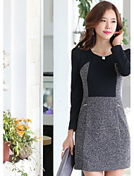 Women's Work Sheath Dress,Color Block Round Neck Above Knee Long Sleeve Gray Polyester Spring / Fall / Winter