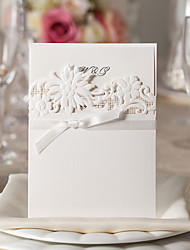 Chic Flora Design White Wedding Invitation-Set Of 10/20/50