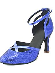 das mulheres personalizadas pu superior sapatos de dança latina sandálias com buckie