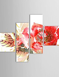 Hand Painted Oil Painting Floral Red Flowers with Stretched Frame Set of 4