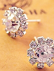 MISS U Women's White Diamond Sunflower Earrings