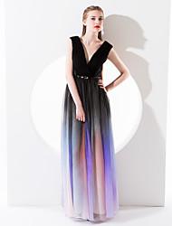 TS Couture Formal Evening Dress - Sheath/Column V-neck Floor-length Chiffon