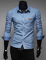 lesen colletto della camicia moda raffinatezza maschile controllare casuale manica lunga colore di contrasto classica camicia o