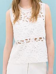 Vêtements Collar manches creux des femmes Out Pure Color Vest T-shirt Manteau brodé de dentelle Couture Vest