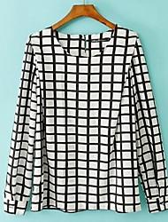 Mulheres manga comprida camiseta xadrez Rodada Preto e Branco solto Plus Size
